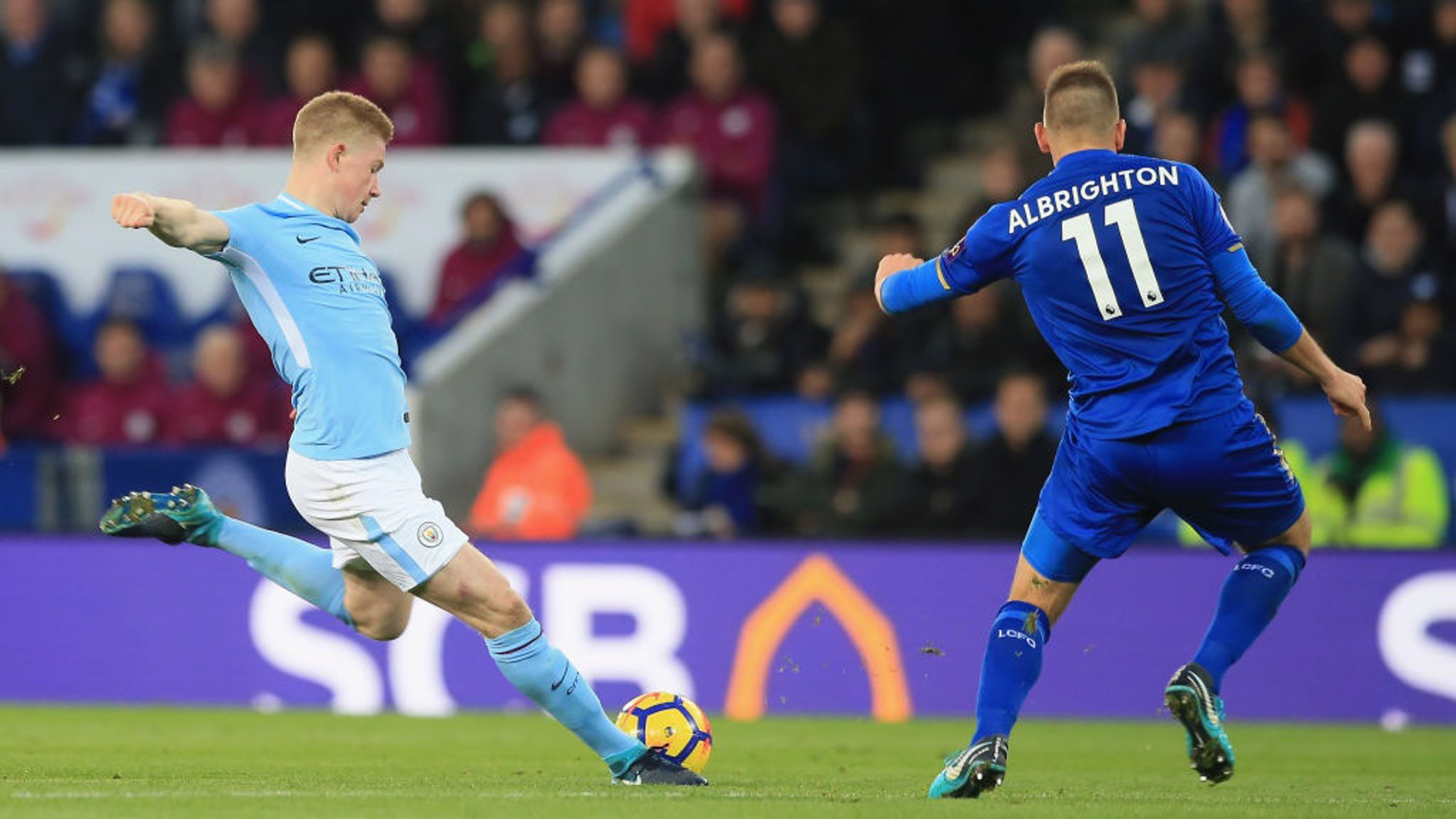 ​ROCKET: Kevin De Bruyne's fearsome strike leaves Leicester's Kasper Schmeichel with no chance.