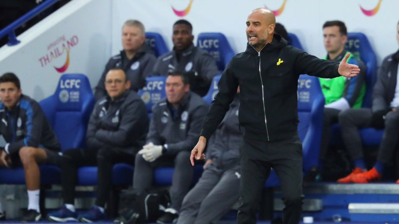 PEP WATCH: The manager gesticulates from the touchline at the King Power.