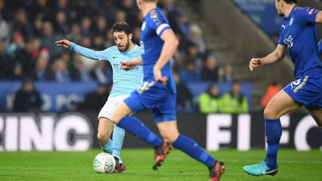 ON TARGET: Bernardo Silva breaks the deadlock at the King Power Stadium.