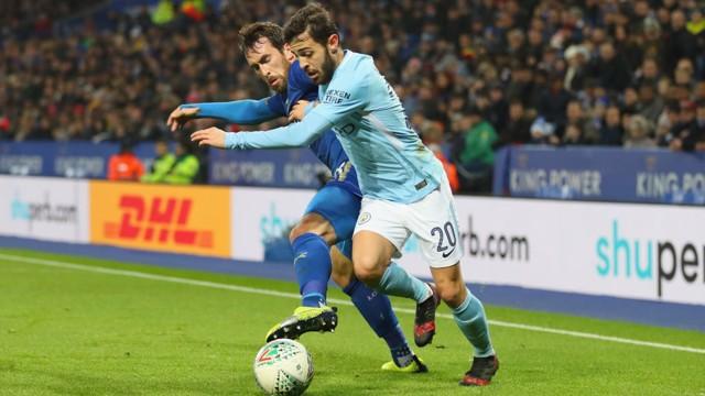TRICKERY: Bernardo Silva gets the better of Christian Fuchs.