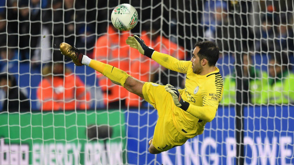 OUT HERO: Claudio Bravo keeps out Riyad Mahrez to send City through to the semi-finals of the Carabao Cup!