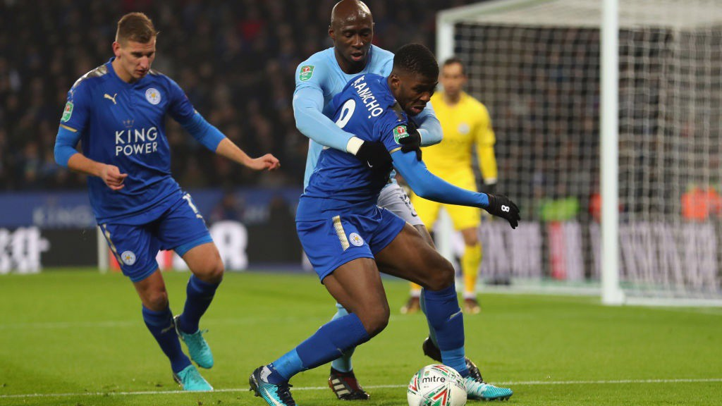 CLOSE QUARTERS: Eliaquim Mangala monitors Leicester's Kelechi Iheanacho.
