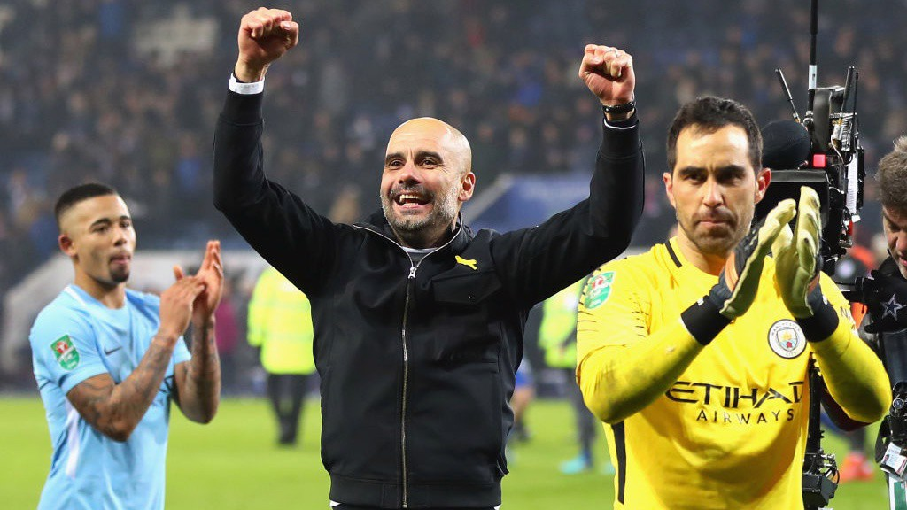 DEPENDABLE: Pep Guardiola and Claudio Bravo celebrate at the King Power Stadium.