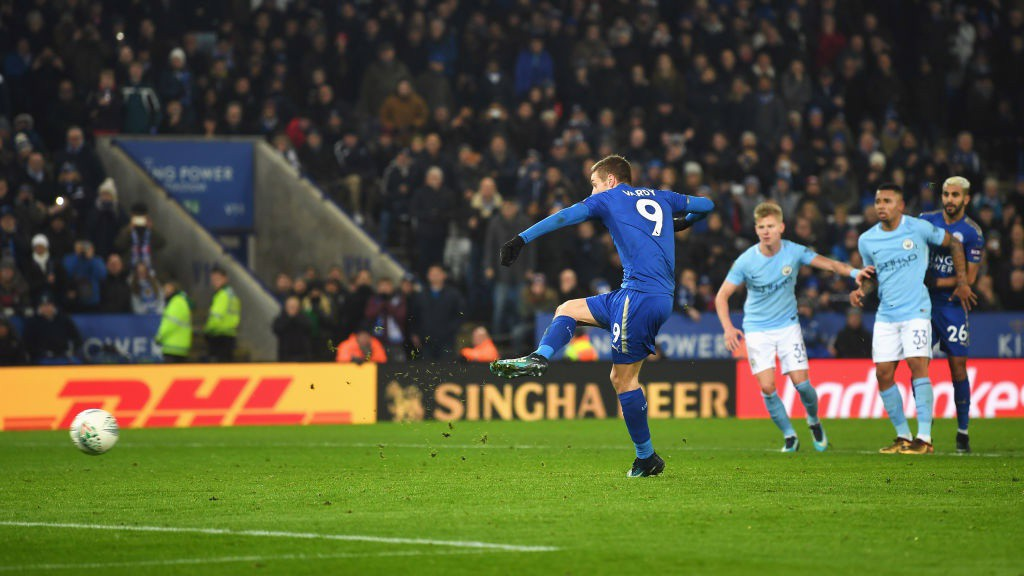 EQUALISER: Jamie Vardy pegs City back from the spot.