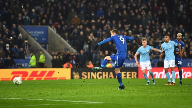 EQUALISER: ​Jamie Vardy pegs City back from the spot.