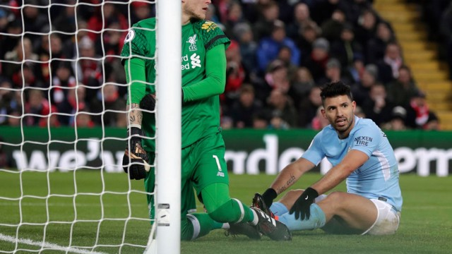 CLOSE: Sergio Agüero looks on after going inches from converting Kevin De Bruyne's cross.