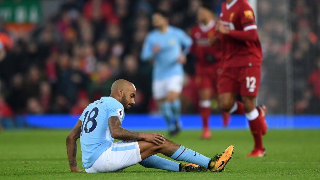 DISAPPOINTMENT: Fabian Delph is forced off with a knee injury.