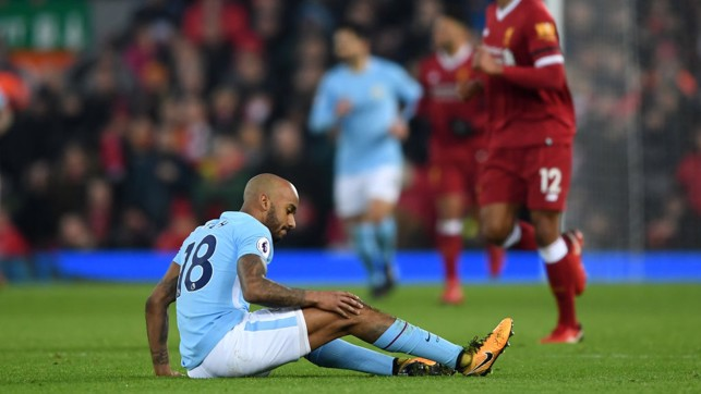 ​DISAPPOINTMENT: Fabian Delph is forced off with a knee injury.