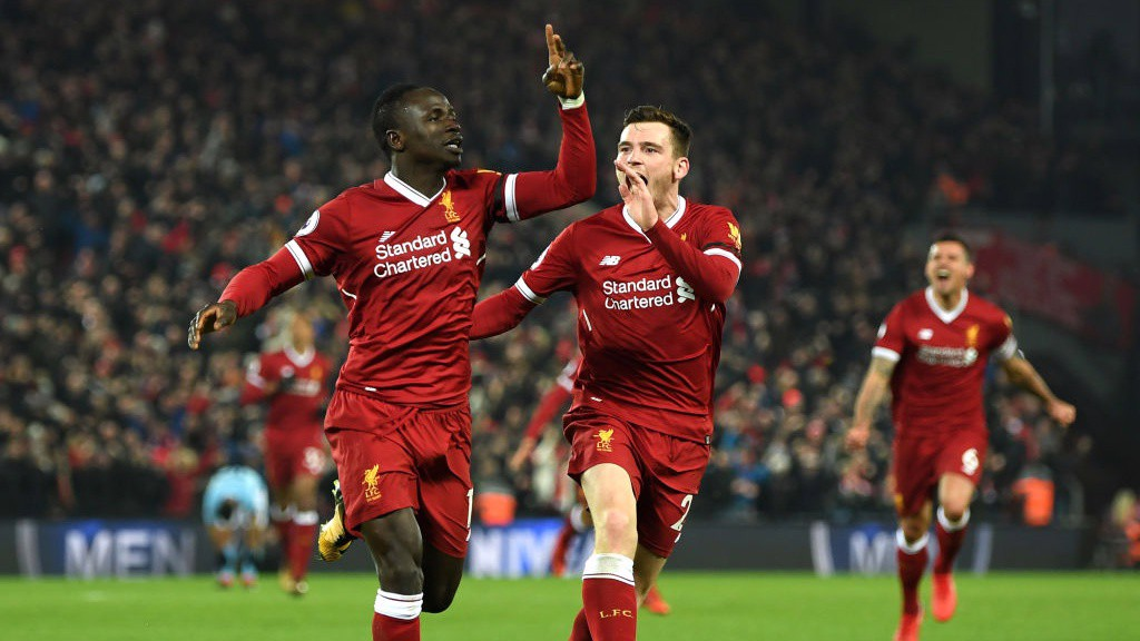FRUSTRATION: Sadio Mané scores Liverpool's third.