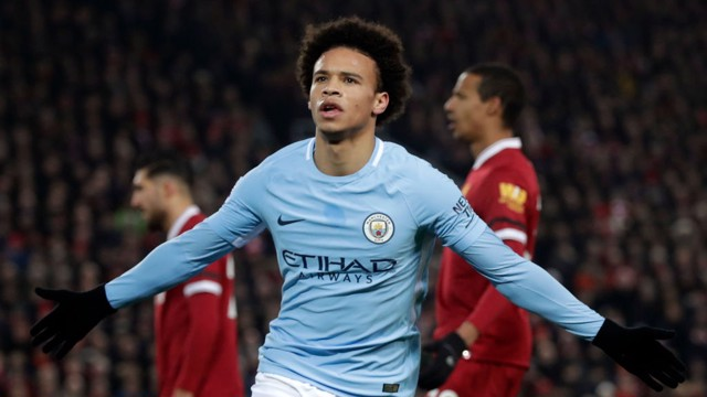 DOUBLE FIGURES: Leroy Sané celebrates scoring his tenth goal for City this season.
