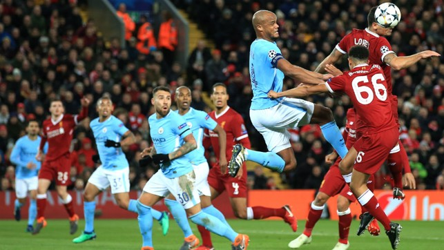 SKIPPER: Vincent Kompany launches into action.