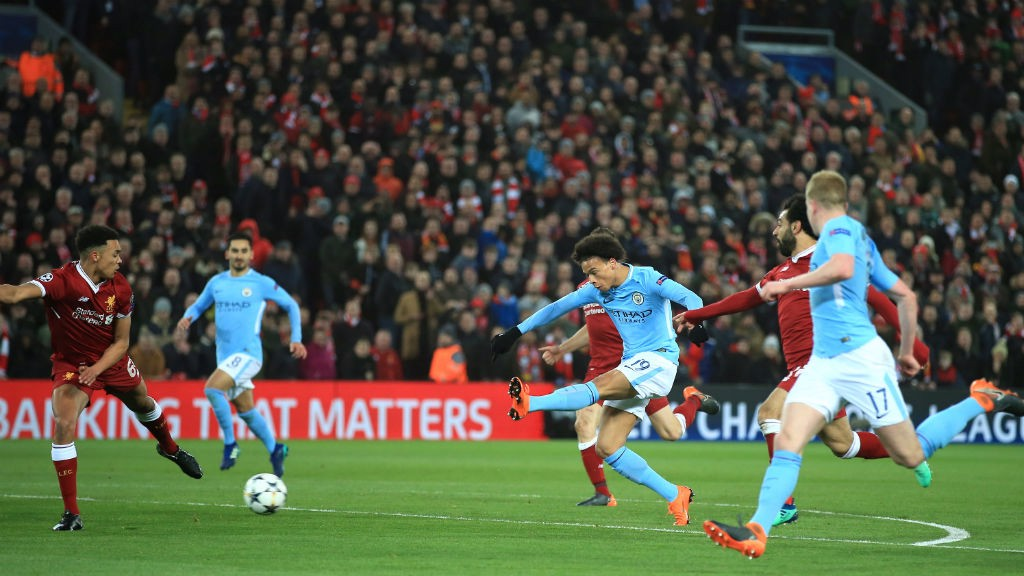 ACTION SHOT: Leroy Sane goes close at Anfield.