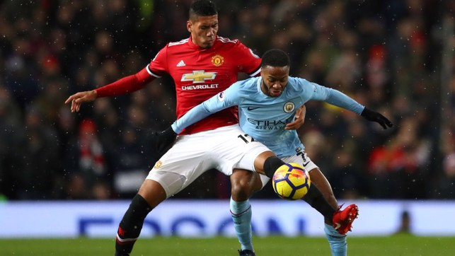DANGER MAN: Raheem Sterling looks to hold off Chris Smalling in the first half.