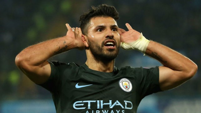 HISTORY MAN: Sergio Aguero celebrates his record breaking achievement
