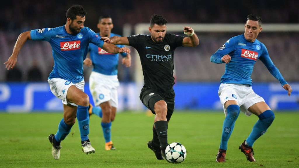 MIDDLE MARCH: Sergio Aguero powers at the Napoli defence