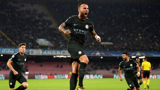 GENERAL ORDERS: Nicolas Otamendi celebrates after scoring