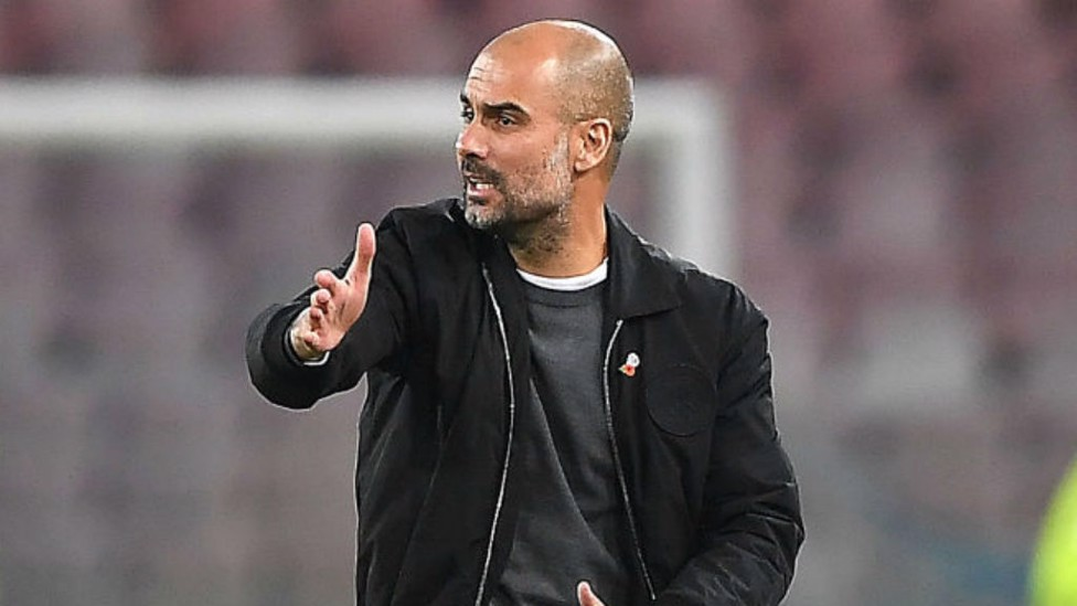 LEADING MAN: Pep Guardiola fires out instructions