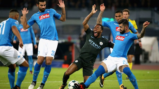 CROWDED HOUSE: Napoli put the squeeze on Raheem Sterling
