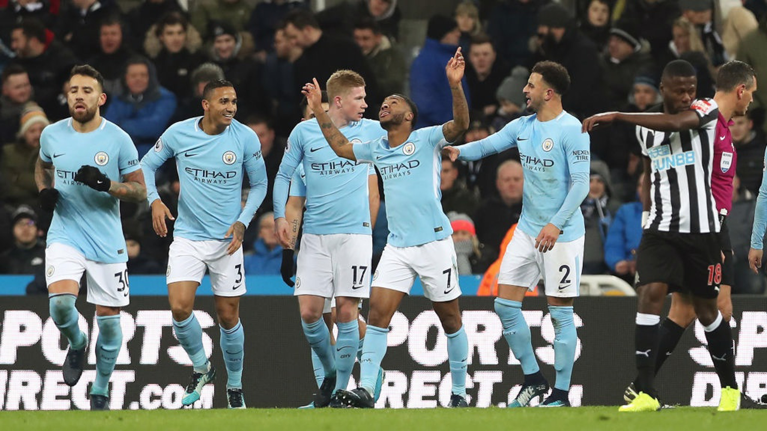 HE'S TOP OF THE LEAGUE: Raheem Sterling celebrates his 17th goal in all competitions this season.