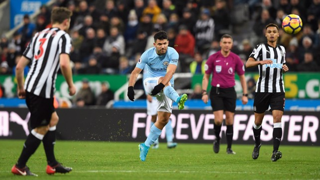 ON THE VOLLEY: Sergio Agüero goes close to doubling the lead but his effort comes back off the post.