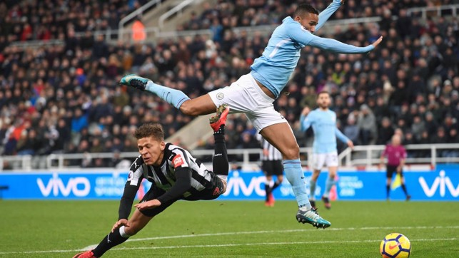 WAVED AWAY: Dwight Gayle's penalty appeal is dismissed by referee Andre Marriner.