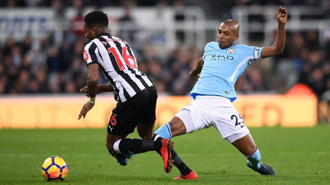 ​VERSATILE: Fernandinho fills in at centre-back after Vincent Kompany's first-half injury.