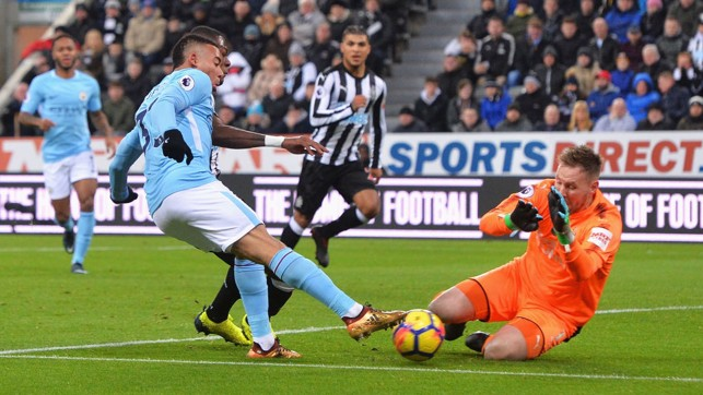 ON THE PROWL: Gabriel Jesus' effort is saved by Newcastle's Rob Elliot.