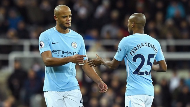 ​DISAPPOINTMENT: Vincent Kompany goes off injured early in the first half.