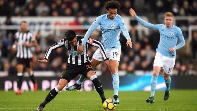SPEEDSTER: Substitute Leroy Sané skips past Newcastle's Mikel Merino.