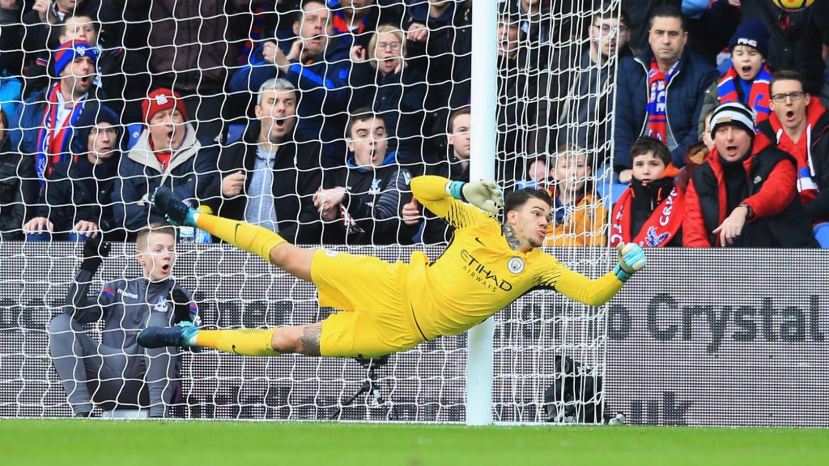 Ante el Crystal Palace, Ederson firmó una de sus mejores actuaciones de la temporada.