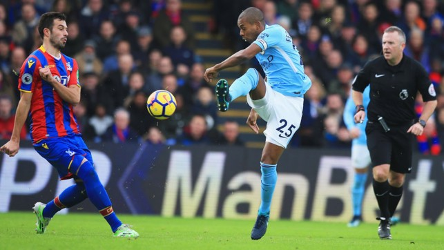 ​ENGINE ROOM: Fernandinho on the ball in the heart of midfield.