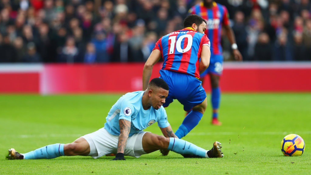 DISAPPOINTMENT: The injury that forced Gabriel Jesus off after 23 minutes.