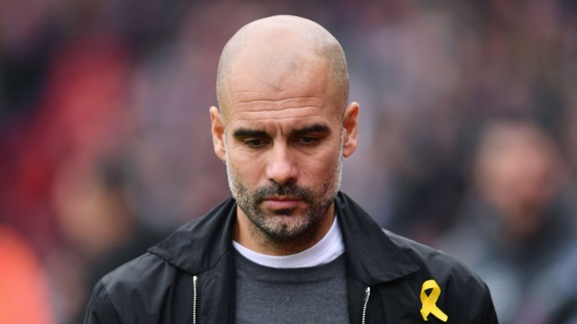 PENSIVE: Pep's was the face of concentration ahead of the game at Selhurst Park.