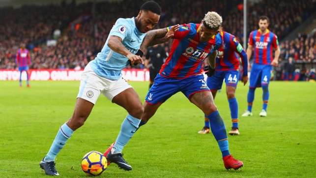 PUSHING ON: Substitute Raheem Sterling searches for a breach in Palace's resolute back line.
