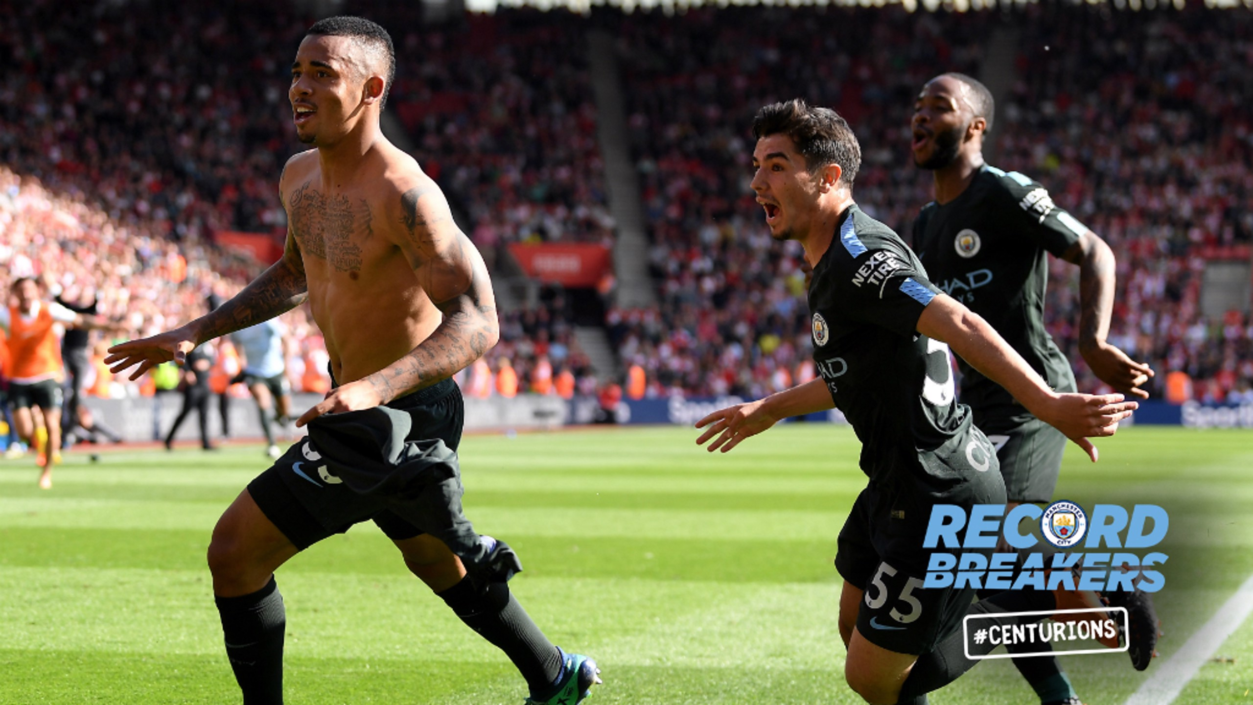 ELATION: Gabriel Jesus runs over to celebrate with the jubilant City fans