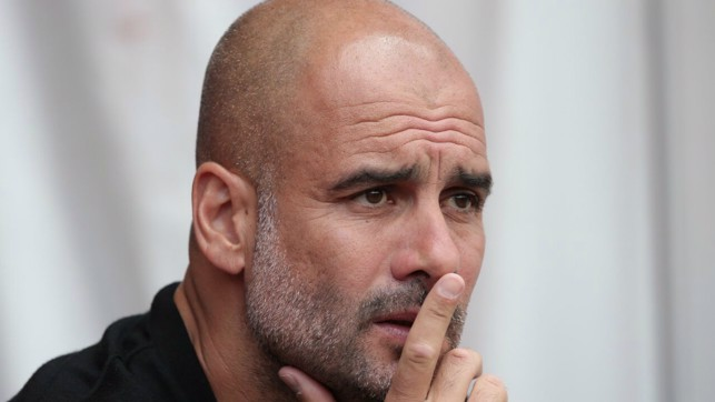 THE BOSS: Pep Guardiola watches on intently