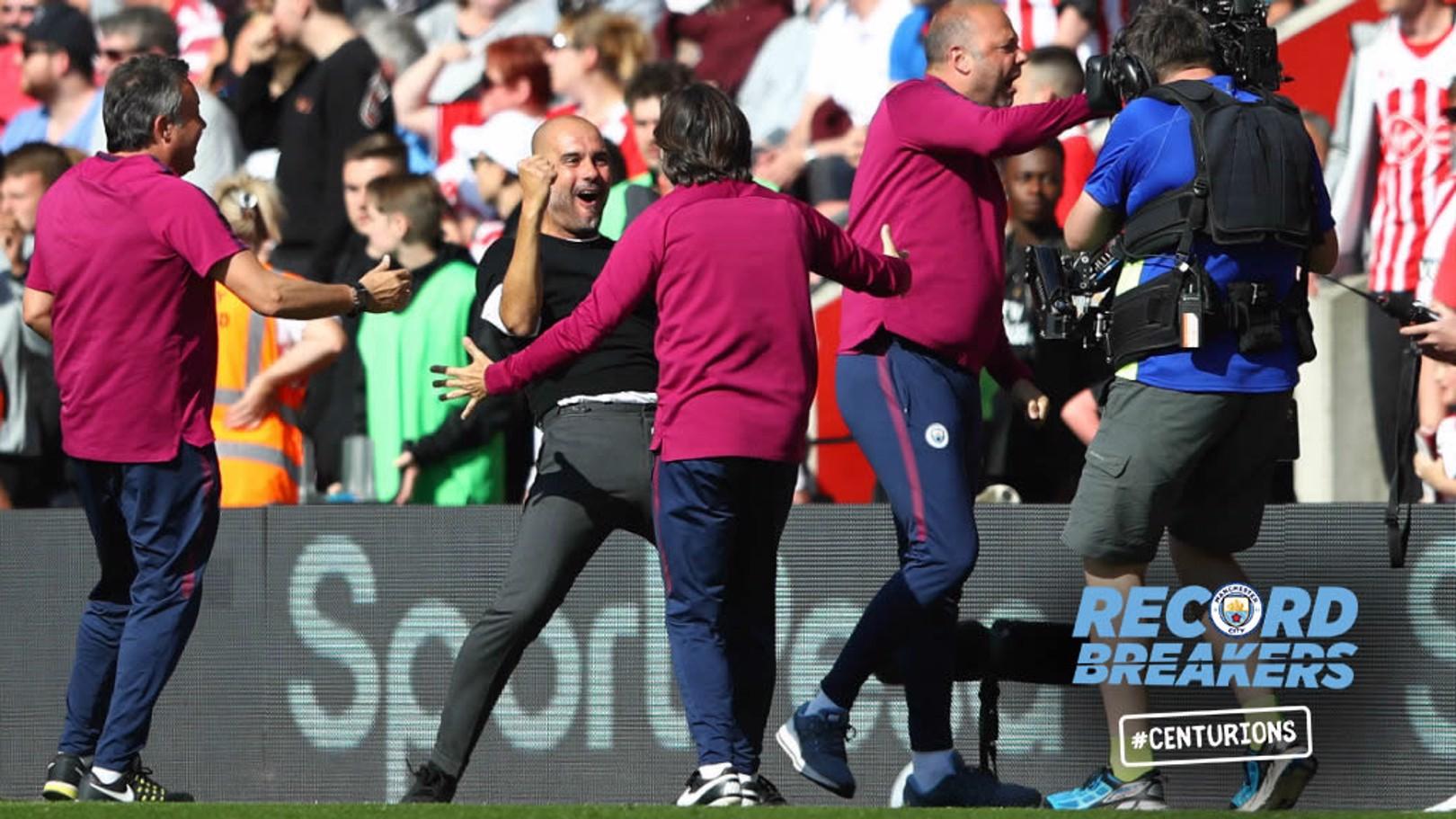 100 UP! Pep Guardiola and team celebrate