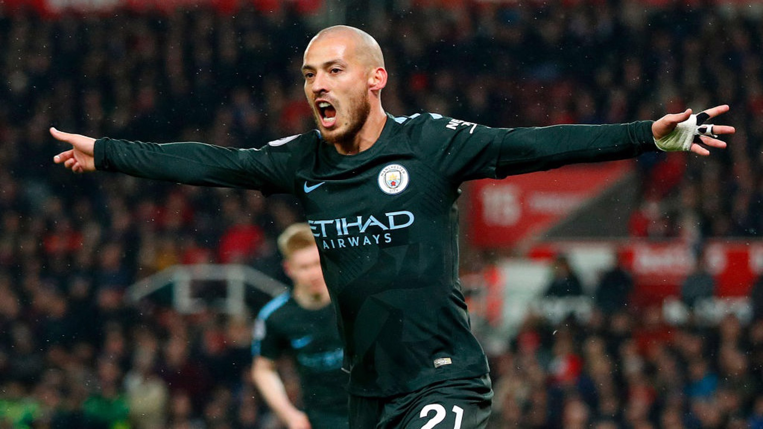 ​MAIN MAN: David Silva celebrates firing City into the lead.