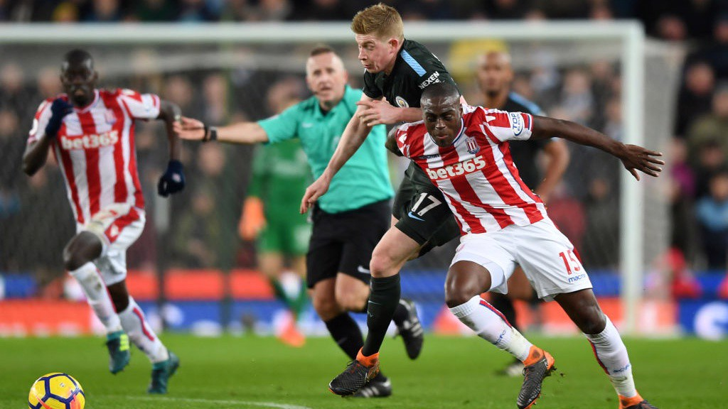 POWER: Kevin De Bruyne battles for possession