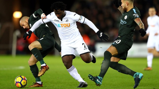 FAMILIAR FOE: David Silva battles for possession with ex-Blue Wilfried Bony.