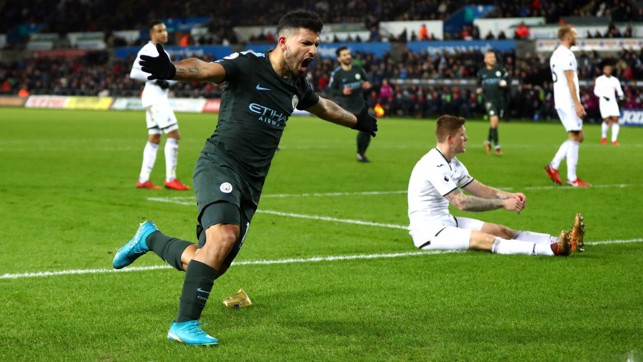 IN ON THE ACT: Sergio Agüero scores City's fourth.