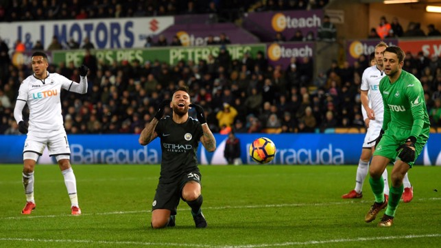 PROBING: Nicolas Otamendi rues a missed opportunity in the first half.
