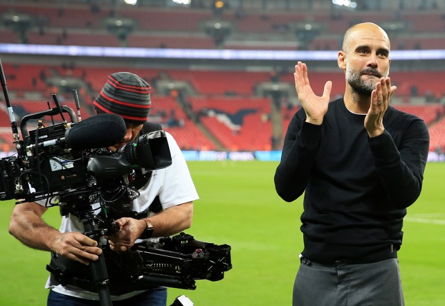 PEP: The boss shares the post match celebrations.