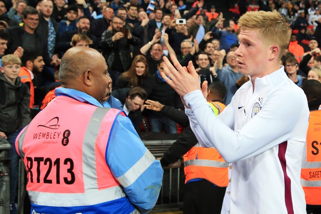 KDB: Brilliant Belgian applauds the travelling support.
