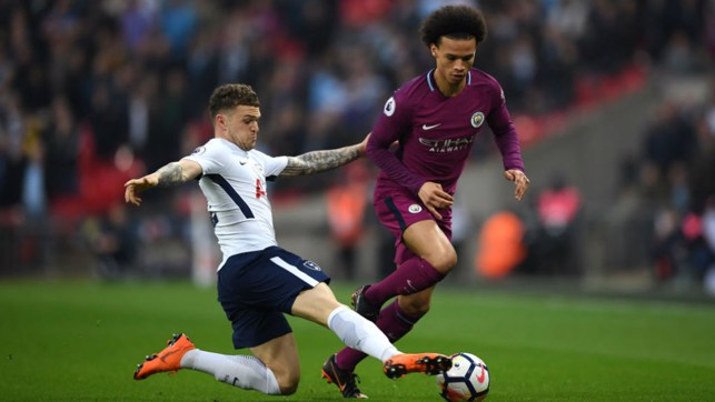 FLYING WINGER: Sane goes down the outside again