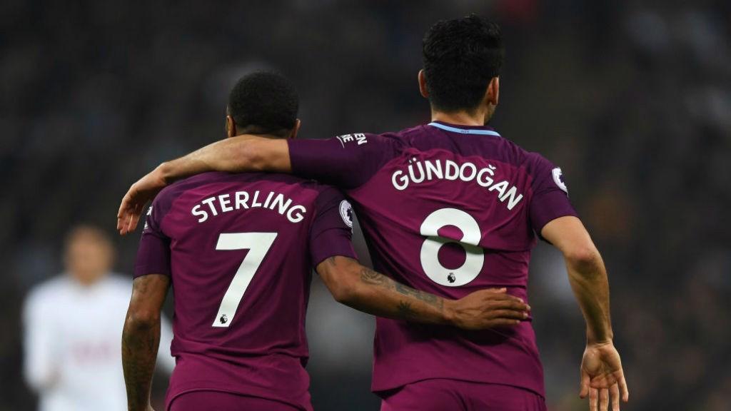 Raheem Sterling e Ilkay Gündogan, dos de los goleadores del último Tottenham - City.