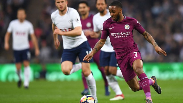STERLING SERVICE: Raheem scored his 17th Premier League goal of the season against Spurs