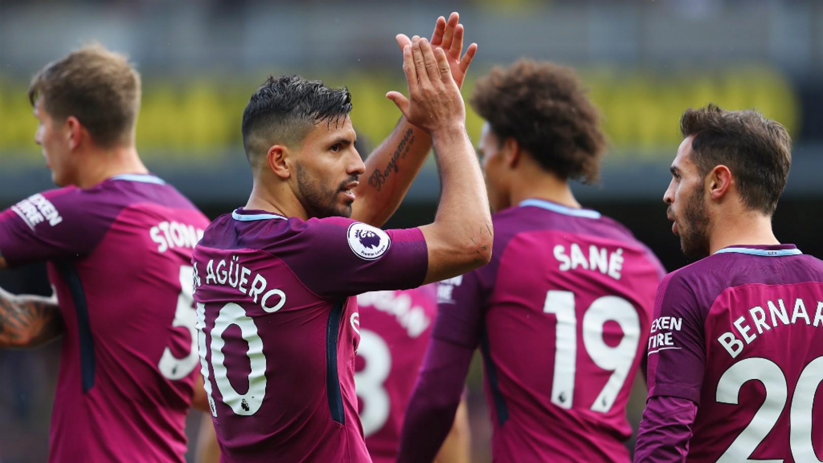 DEVASTATING DISPLAY: Sergio Aguero bagged a hat-trick at Watford