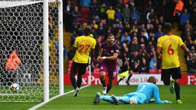 LETHAL WEAPON: Sergio Aguero celebrates his second goal