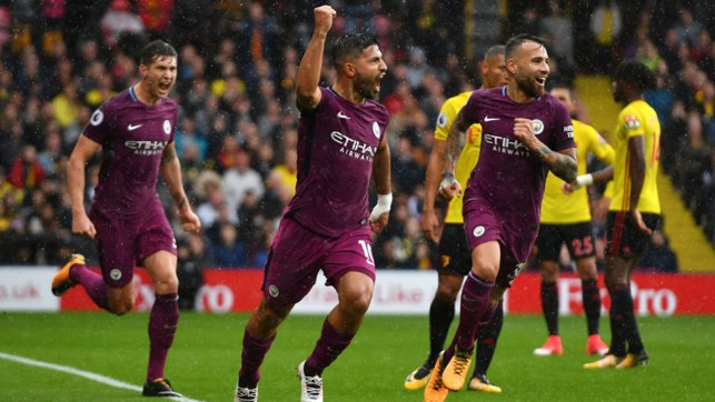 HAT-TRICK HERO: A memorable day for Aguero, as the Argentine hit a treble in a 6-0 demolition of Watford